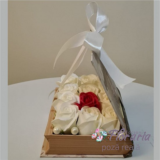 Book Box with Roses White Soap