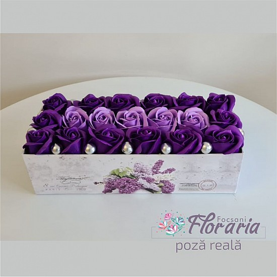 Rectangular box with Roses soap shades of purple