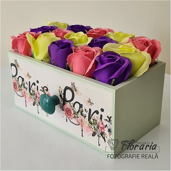 Wooden box with vibrant soap roses