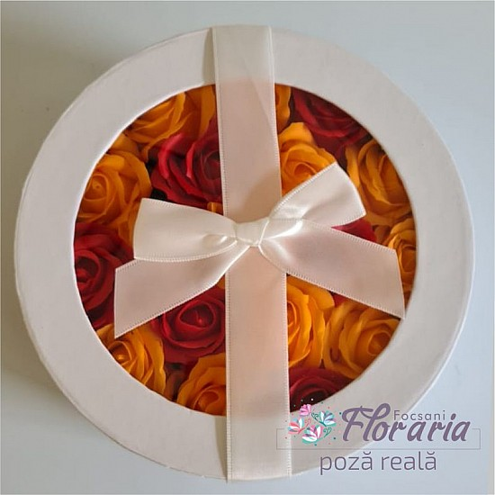 Round box with orange and red Soap Roses