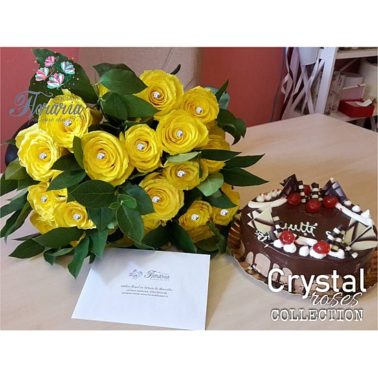 Yellow Rose Bouquet Crystal Roses