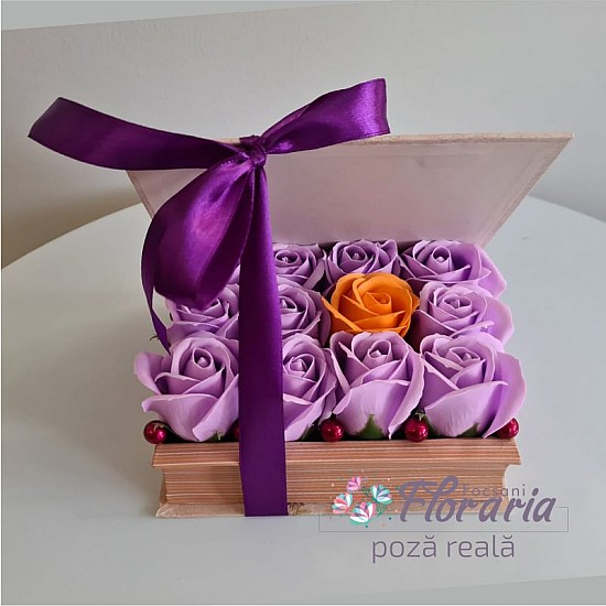 Book Box with Roses Purple Soap