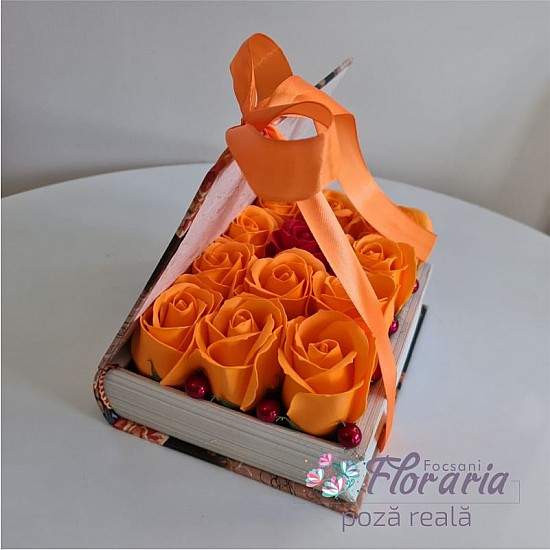 Book Box with Roses Orange Soap