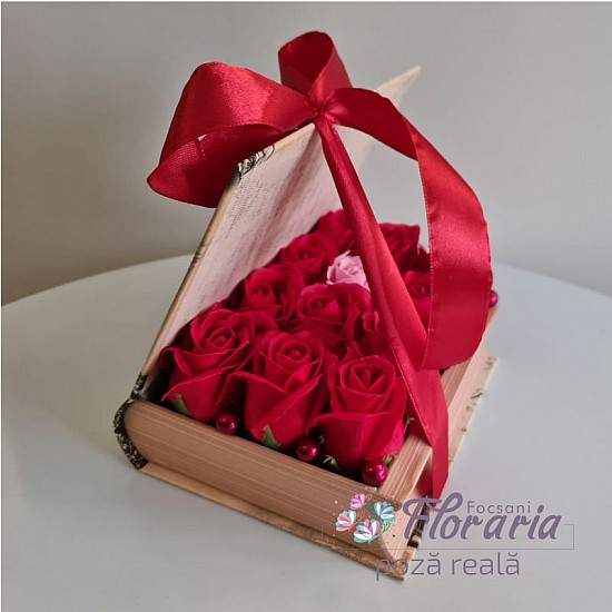 Book Box with Roses Red Soap